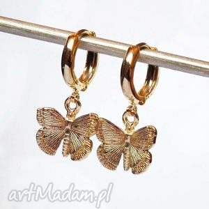ZŁOTE MOTYLE kolczyki delikatne śliczne pozłacane i lekkie jak piórko, motyl, złote