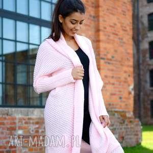 swetry długi, gruby, damski zimowy kardigan, dziewczęcy różowy sweter, pleciony