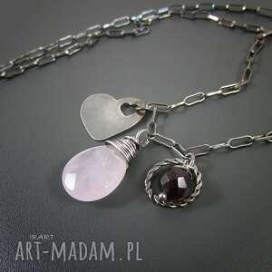 naszyjniki serce z różowym kwarcem, kwarc, srebro, serce