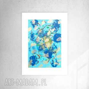 niebieska abstrakcja do salonu, nowoczesna grafika biura, granatowa