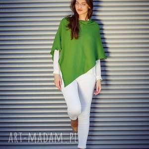 Zielone ponczo poncho hermina ponczo, poncho, narzutka, bawełna