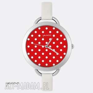 Prezent Zegarek, bransoletka - Kropki, czerwony, zegarek, bransoletka, skórzany