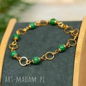 hand-made złocona bransoletka z turkusów c887