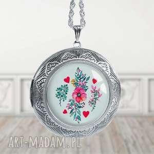 romantyczny medalion sekretnik, naszyjnik, długi, otwierany,