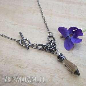 trójkątny z sopelkiem, srebrna biżuteria, chainmaille, naszyjnik srebro