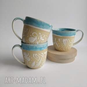 handmade ceramika trzy kubki ceramiczne