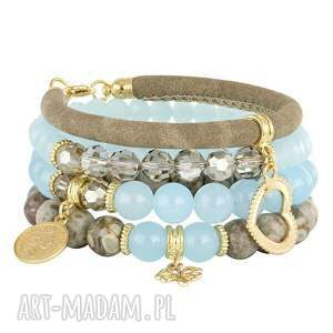 handmade bransoletki jasmine 4 - blue, beige & smoky