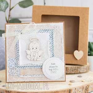 Kartka z aniołkiem stróżem narodziny, chrzest, roczek, urodziny