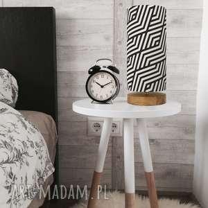 lampa dekoracyjna czarna-biała, retro, design, drewno, bawełna