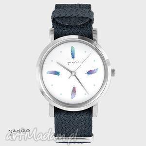 zegarek, bransoletka - turkusowe piórka grafitowy, piórko, nato, pleciony