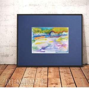 akwarela pejzaż wiejski, kolorowy obrazek z pejzażem ręcznie malowany obrazek, widok