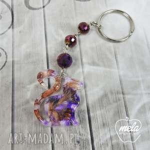 breloki 0619 mela- brelok do kluczy, torebki kot, kwiaty, brelok, żywica
