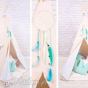 handmade pokoik dziecka tipi namiot do pokoju lub ogrodu - miętowe gwiazdki