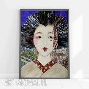 plakat a2 - geisha, plakat, wydruk, portret, twarz, print