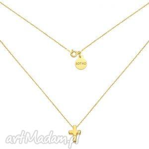 złoty naszyjnik z krzyżykiem, delikatny, zawieszka srebro, modny