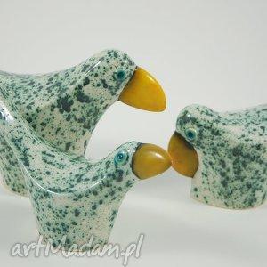 cerama wróble miętowe - zwierzęta dekoracja, ceramika, figurki