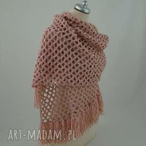 ręcznie robione szaliki różne kolory - szal ażurowy z frędzlami