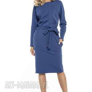 Luźna sukienka z paskiem i kieszeniami, T250, chabrowy, luźna, sukienka, pasek