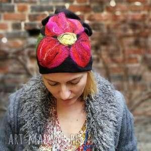 czapka handmade wełniana z kwiatem, welna, etno, czapka, kwiaty, filc, merynosy