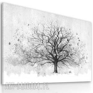 obraz do salonu drukowany na płótnie z drzewem,czarno-białe drzewo, duży format
