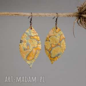 kolczyki liście glamorous, liście, złote kolczyki, polymerclay, fimo