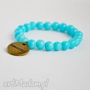 bracelet by sis napis beautiful w niebieskich koralach, korale, bautiful, zloto