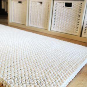 dwustronny dywan z bawełnianego sznurka 150 x 80 cm, chodnik, ecru, dziergany