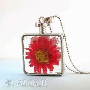 suszony kwiat we szkle - naszyjnik - kwiat, suszony, kwadratowy, łańcuszek