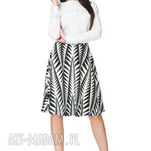 Spódnica rozkloszowana z tkaniny, T202, czarno-biały wzór, spódnica,