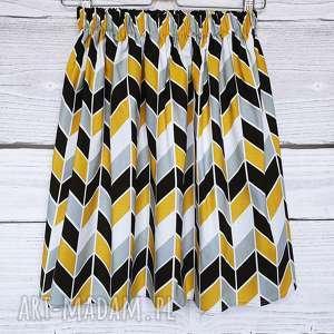 Spódniczka w geometryczny wzór, zygzak, chevron, żółty-musztardowy, na-gumce,