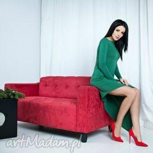sukienka asymetryczna, t152, zielona - sukienka, dzianina, wiskoza, asymetryczna, wygodna