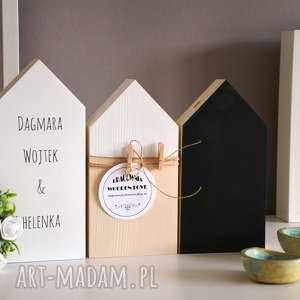 dekoracje personalizowane domki, dom, domek, drewniane, imię, tablicowy