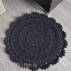 dywan okrągły ze sznurka bawełnianego 90cm, dywan, dywanik, szydełkowy