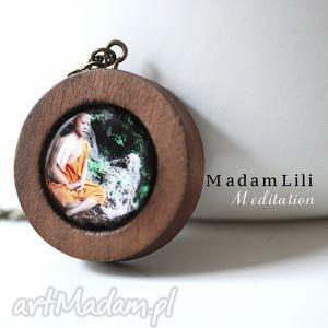 mniszek naszyjnik z brąz - drewno, mnich, budda, medytacja, natura, elegancja