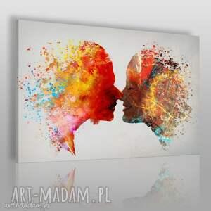 Obraz na płótnie - POCAŁUNEK PARA KOLOROWY 120x80 cm (73401), pocałunek, para