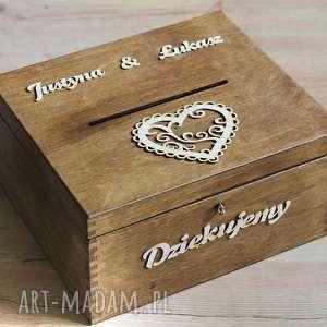 Pudełko z kluczykiem - serce, drewno, pudełko, koperty, eko, rustykalne, ślub