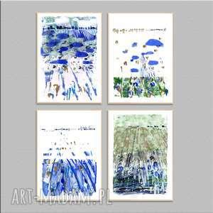 ręcznie wykonane prace a4 x 4 pejzaż, abstrakcja, grafiki, akryl, papier