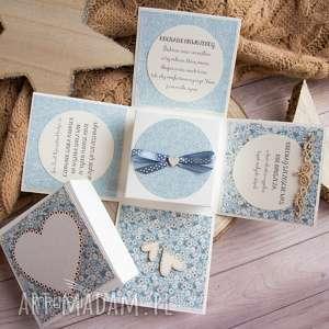 hand-made scrapbooking kartki przepiękne eksplodujące pudełeczko z okazji ślubu