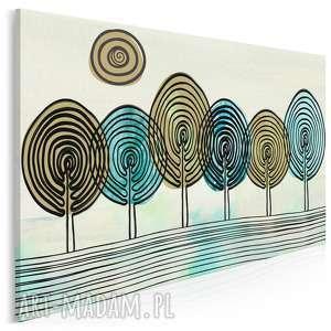 obraz na płótnie - abstrakcja drzewa 120x80 cm 33801, drzewa, odciski