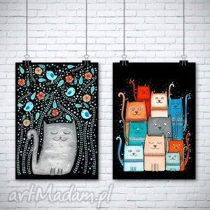 zestaw dwóch prac a3 - kot, koty, kotek, kotki, plakat, obrazek