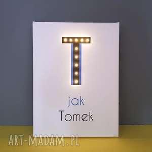 świecąca litera t z imieniem, prezent dla chłopca, dziewczynki, lampka