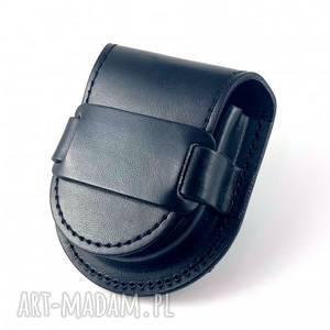 ręcznie robione etui skórzana sakiewka na zegarek - szlufka (black)