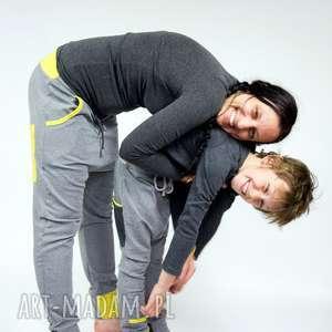 Spodnie Duet - mama i dziecko (szary limonka), mama-i-syn, dres, dresowe, bawełna