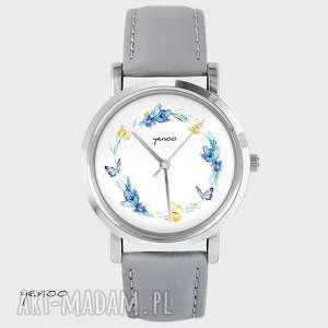 zegarek, bransoletka - wianek, motyle szary, skórzany