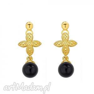 sotho złote kolczyki z rozetką i czarną perłą swarovski®