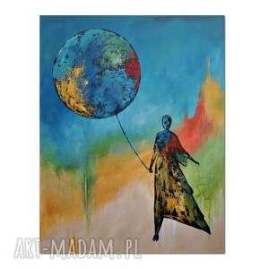 balloon stories /5/, obraz ręcznie malowany, obraz, ręcznie, postać
