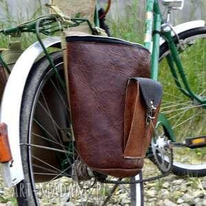 handmade podróżne skórzane sakwy na rower odcienie brązu