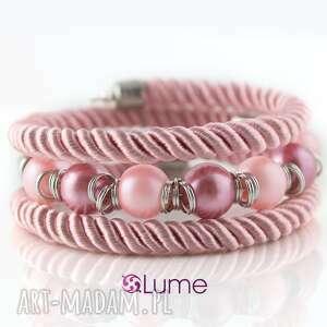 bransoletka sznurkowa różowa z perełkami szklanymi, bransoletka, delikatna