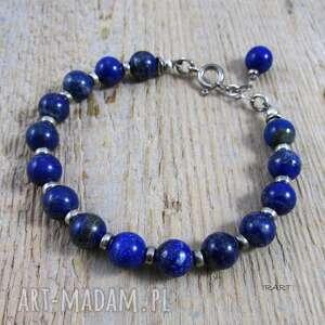 lapis lazuli z przekładkami - bransoletka 314, lazuli, srebro