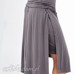 szara sukienka z asymetrycznym dołem stripe, sukienka, wygodna, pas, asymetryczna